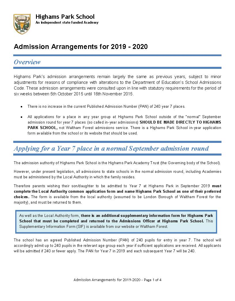 Admission Arrangements for 2019 2020 entry