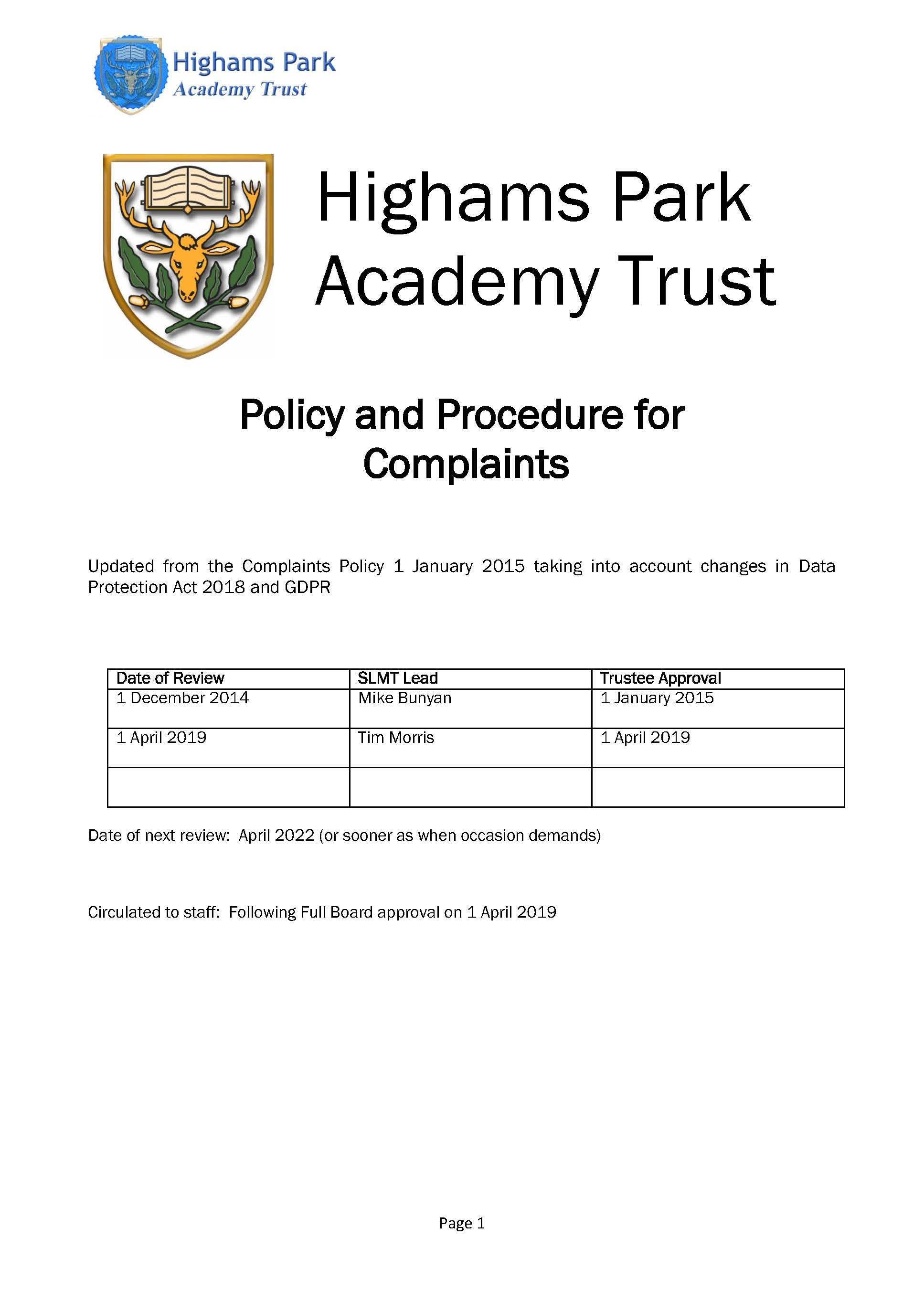 Complaints Policy