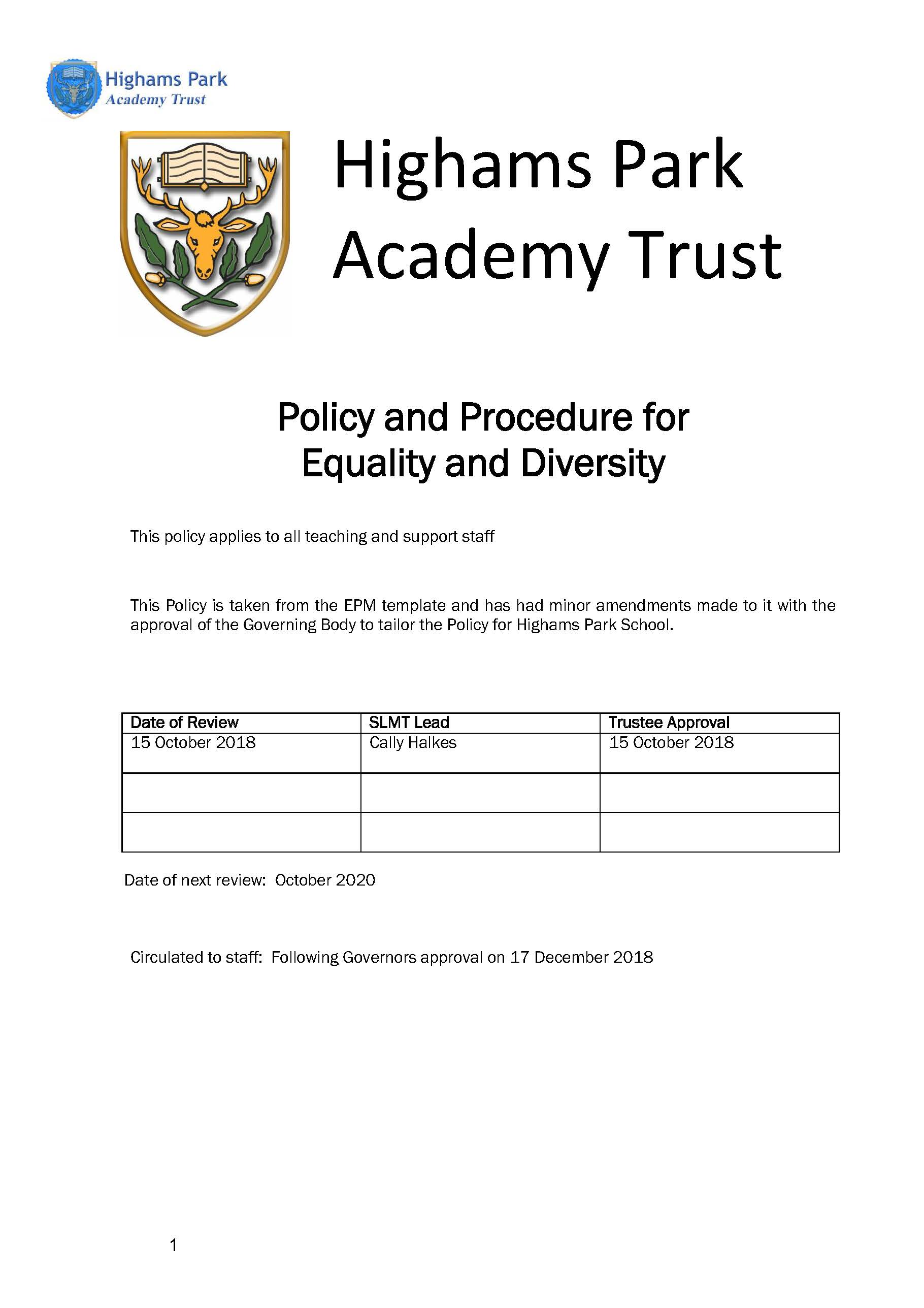 Equality and Diversity Policy for Staff
